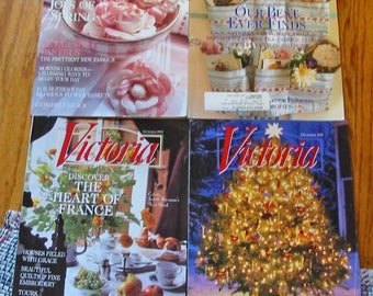 4 VICTORIA BLISS MAGAZINES 1999 Issues May Aug Spet Dec Art Design Home Decor Holidays Travel Recipes Colthing Entertain Eye Candy Inspire