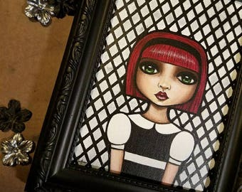 Original Mixed Media Gothic Girl Painting by Lisa Lectura