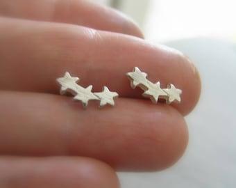 Three star stud earrings. Sterling silver earrings. Stud earrings. Small star stud earrings. Tiny star studs. Ear climber star earrings.