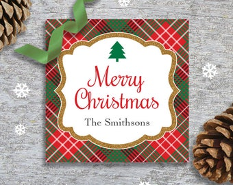 Personalized Christmas Gift Tags, Labels or Stickers - DIY Printable - Traditional Plaid (Digital File)