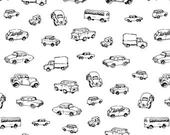 Black and White Retro Cars Fabric - Little Retro Cars   Black And White By Imaginaryanimal - Cotton Fabric By The Yard With Spoonflower