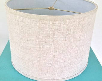 "14"" Drum Lampshade, Contemporary Drum Lamp Shade made in Vintage Grain Sack Linen,  Rustic Look, Natural Color, Nubby Texture, Beach House"