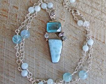 Larimar Blue Topaz Pendant Aquamarine Healing Gemstone Sterling Silver Necklace