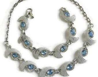 Blue Rhinestone Necklace and Bracelet Set Vintage