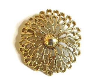 Trifari signed Domed Chrysanthemum Mum Flower Brooch Vintage Openwork