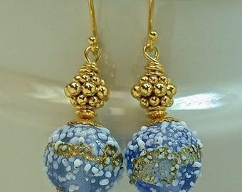 Vintage Japanese Sugar Bead BLUE White GOLD Glass Earrings -Dangle, Handmade Bali 24K Gold Beads, Handmade Bali 24K Handmade Gold Ear Wires
