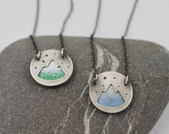 Tiny Mountain--hand cut recycled silver layered over enameled copper