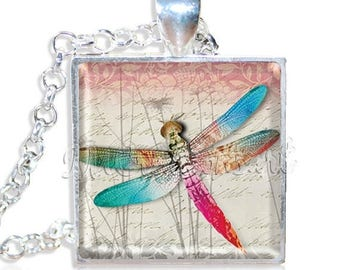 "20% OFF - Pretty Colorful Dragonfly 1"" Square Glass Pendant or with Necklace - SQ137"