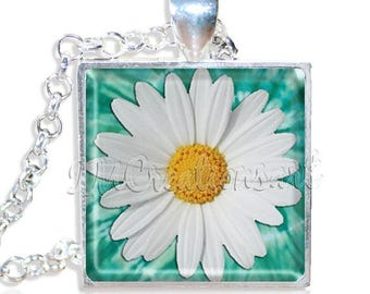 """20% OFF - Sweet Daisy Flower 1"""" Square Glass Pendant or with Necklace - SQ133"""