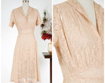 Vintage 1930s Dress - Fantastic Pintucked Sheer Peach Lace Late 30s Day Dress with Midwaist