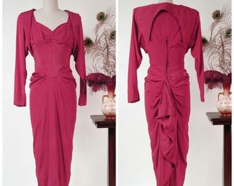 Vintage 1940s Dress - Rare Exquisite Bold Fuchsia Draped Audree Gay 40s Cocktail Dress with INSANE Back BustleDrape