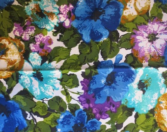 Vtg  Blue Floral Fabric Sample / Store Sample / Original Design Hero Fabric IC Vat Color Screen Print Evernu Finish 1+ Yard / Retro Floral