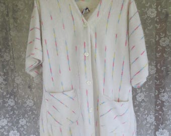 Vtg 80s Chenille Beach Cover Up / Pastel Rainbow / Short Sleeve Robe /  House Coat / Swim Cover Up / Small UNISEX
