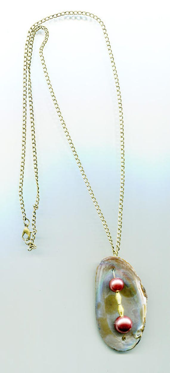 pearl necklace clam shell necklace bronze chain long necklace handmade beach nautical natural jewelry #Itemjewls501