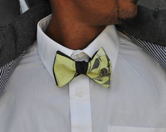 Self Tie Bow Tie Black with Lime Green Made in Asheville, NC MM#17-4