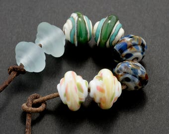 Mixed Pairs Baroque Handmade Glass Lampwork Beads (8 Count) by Pink Beach Studios (1572)