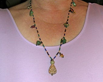 Seed Bead Necklace of Dark Brown Navy Forest Green and Tan with Turquoise Bakolite Glass Jasper and More