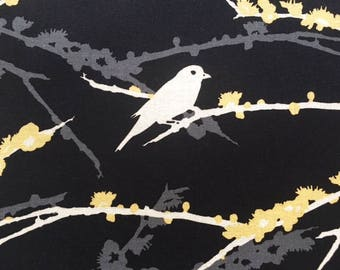 SALE Aviary 2 Sparrows Cavern Black - One Yard - Joel Dewberry Fabric