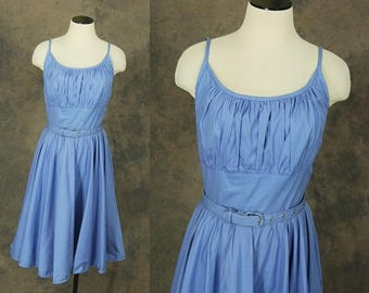 3 Day SALE vintage 50s Sun Dress - 1950s Blue Sleeveless Day Dress Shelf Bust Dress Sz S