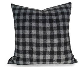Grey Black Pillows, Grey Buffalo Plaid Pillow, Christmas, Gray Plaid Pillows, Rustic Pillow Covers, Wool Plaid, Zipper, 12x18, 18, 20, 22