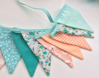 Mint Peach Bunting -  14 small flags Fabric Garland, Bedrooms bunting, flag garland, Birthdays, Photo Prop