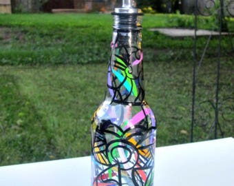 Dish Soap Dispenser,  Recycled Clear Beer Bottle, Painted Glass, Oil and Vinegar Bottle, Abstract Art, Bottle Dispenser, Black and Color