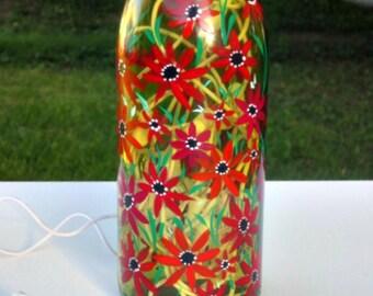 Wine Bottle Light, Night Light, Hand Painted, Light Green Wine Bottle, Red Flowers, Painted Glass Bottle, Glass Art, Home Decoration