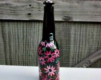 Dish Soap Dispenser,  Recycled Amber Glass Bottle, Painted Glass, Oil and Vinegar Bottle, Shades of Pink Flowers, and a Dragonfly