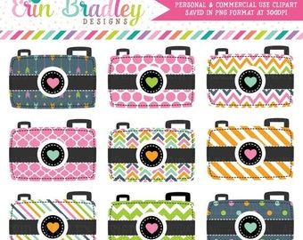80% OFF SALE Digital Photography Camera Clipart Graphics in Pink Blue Green & Orange Arrow Striped Polka Dotted and Chevron Patterns Insta