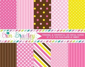 80% OFF SALE Pink Ballerinas Digital Paper Pack Polka Dots Stripes & Gingham Patterns Commercial Use Instant Download