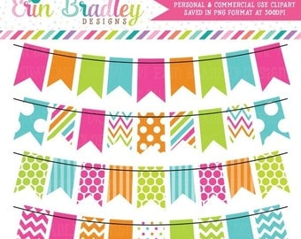 80% OFF SALE Colorful Rainbow Bunting Clipart Commercial Use Graphics