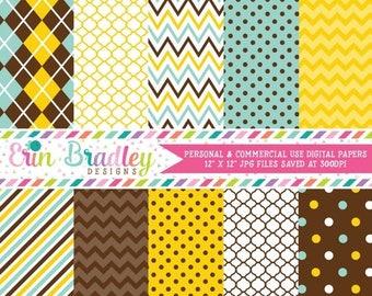 80% OFF SALE Boys Blue Yellow & Brown Digital Scrapbook Paper Pack Argyle Quatrefoil Polka Dotted Chevron Striped Patterns