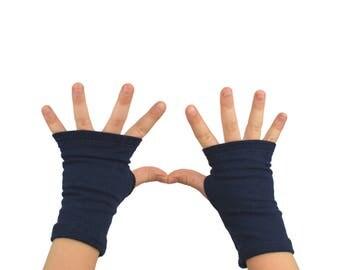 Toddler Arm Warmers in Midnight Navy Blue - Fingerless Gloves
