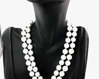 Double Strand Choker, White Bead Marvella Necklace, 1950's 1960's Wedding Bridal Jewelry, Signed Jewelry