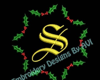SALE 65% OFF Christmas Holly Embroidery Monogram Fonts Designs Instant Download Sale 4x4 hoop
