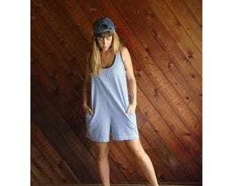 15% Memorial Day Wknd ... Striped Sleeveless Cotton Romper Playsuit - Vintage 90s - S/M