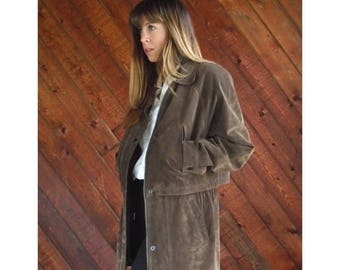 15% Memorial Day Wknd ... Brown Leather Mid Length Jacket Coat - Vintage 90s - M