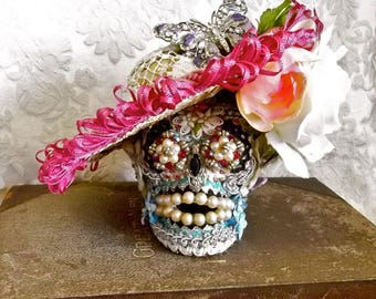 Day of the Dead SKULL BOX Vintage Assemblage Flowers Trimming Jewels Pearls Separate Decorated Hat Secret Hiding Place One of a Kind OOAK