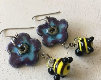 Flowers and bees earrings