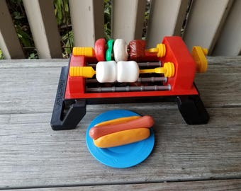 1988 Fisher Price Sizziling BBQ Grill Complete Set