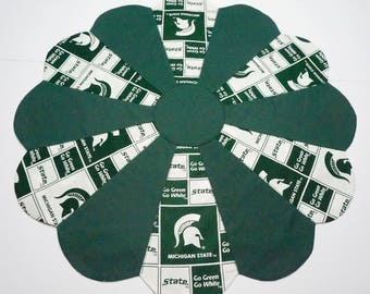 Michigan State University Reversible Table Topper - Santa Heads on the Back