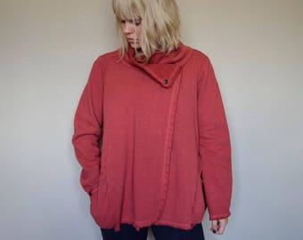 Wrap Front Snap Closure Barrel Hemp and Organic Cotton Fleece Jacket - set in sleeve seamed barrel pattern series