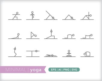 Minimal yoga line icons | EPS AI PNG | Geometric Fitness Clipart Design Elements Digital Download