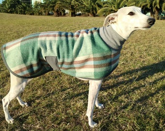 checks in green and chocolate...winter coat for a whippet in vintage wool blanket and polar fleece