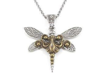 Sky Dancer Dragonfly Necklace - Insect Jewelry, Steampunk Jewelry, Dragonfly Lover Gift, Gifts for Women, Wings, Dragonfly Jewelry, Skyward