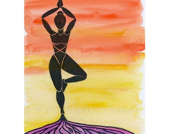 Tree Pose Grounded Meditation yoga art print 8x10