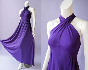 70s purple keyhole halter flowy maxi dress | size small
