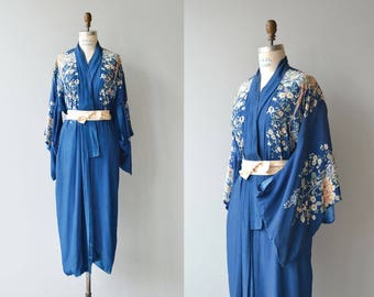 Evening Song silk wrapper | antique 1920s kimono robe | tissue silk 20s robe