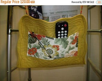 ON SALE Walker Bag Quilted Gold with Floral Print Pockets