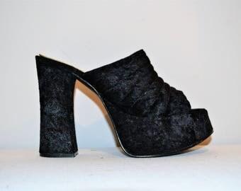 Vintage Platform Chunky Crushed Velvet Shoe